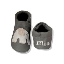 Krabbelschuhe mit Elefant 5 und Namen