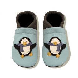 Krabbelschuhe mit  Pinguin und Namen  auf Fersenstück selber kombinieren